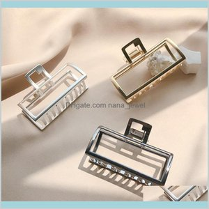 Clamps Jewelry 5Pcslot Geometric Square Shaped Metal Claws Alloy Bath Clips Makeup Clamp Hairpin Women Girls Hair Crabs Accessories Mu