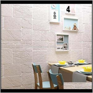 Wallpapers Décor Home & Gardenself-Adhesive Wallpaper 3D Solid Tiling Brick Childrens Wall Around Warm Bedroom Room Decoration 70*70Cm Drop D