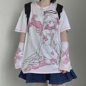 Latimeelon harajuku streetwear mecánico angel manga corta camiseta mujer ropa verano o-cuello dulces chicas blancas tops tee