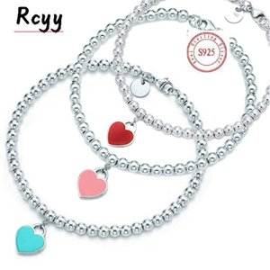 wholesale tiff bracelet 925 silver girl female jewelry exquisite craftsmanship classic blue heart necklace christmas gift