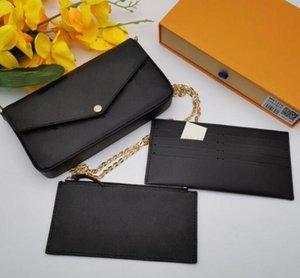 كلاسيكي فاخر مصمم حقيبة يد pochette فيليسي حقيبة جلد طبيعي حقائب الكتف مخلب حمل رسول التسوق محفظة مع مربع