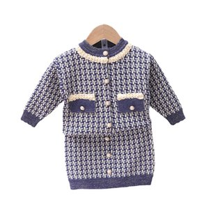 Girls Sweater Sets Kids Clothing Baby Clothes Outfits Autumn Winter Knitting Patterns Plaid Cardigan Coat Skirts Cute Princess Suits 2Pcs B8345