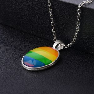 Men Women Gay Pride Choker Necklace Rainbow Flag Lesbian LGBT Love Is Love Pride Glass Pendants Necklaces Unique Jewelry 19 N2