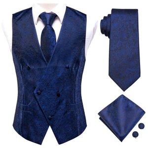 Men's Vests Hi-Tie Navy Blue Floral Solid Silk Mens Slim Waistcoat Necktie Set For Suit Dress Wedding 4PCS Vest Hanky Cufflink