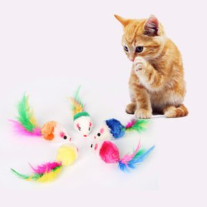 Cat stick Toys 2 Inch Funny training Mouse Simulation Color Tail Toy Pet Supplies Wear And Bite Resistance RH2040