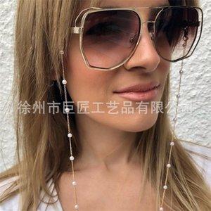 Lunettes de vue en plastique blanc Perle en plastique Perle Charme Gold Argent Couleur en métal Chaîne en métal Boops Sunglasses Accessoire 864 Q2