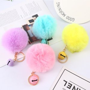 Small Bell Pompom Key Rings jewelry 8cm Fluffy Ball Keychains Faux Rabbit Fur Keyfobs for Girls Women Fashion Accessories Kimter-P153FA