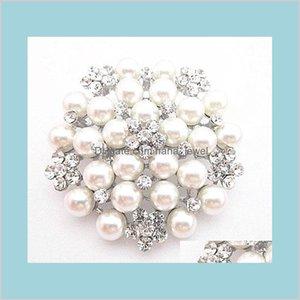 Épingles Broches Bijoux Sier Sier Faux Perlcrristal Broche Costume de mariage Broche B028 Vintage imitation Perle Bouquet de bouquet de mariée