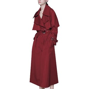 Women's Trench Coats Simplee Turn Down Collar Coat Women Fashion Long Loose 2021 Spring Autumn Wine Red Overcoat With Belt Outwear LX2642