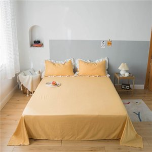 Sheets & Sets Modern Solid Color Bed Sheet Simple Flat Washed Cotton Soft Comfort King Queen Size Home Textile Bedspread