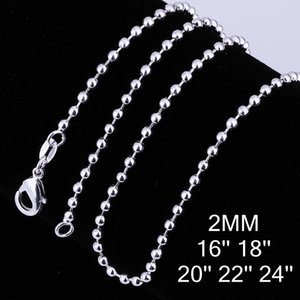 2mm 925 Sterling Silver Plated Chain Necklace Men Women Hip Hop Smooth Unisex Beads Chains Necklaces Fit for Pendants Charms Statement Jewelry DIY Accessories Gift