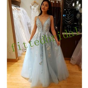 Light Sky Blue prom Dresses Spaghetti Applique Beading Crystal Princess evening Party gowns