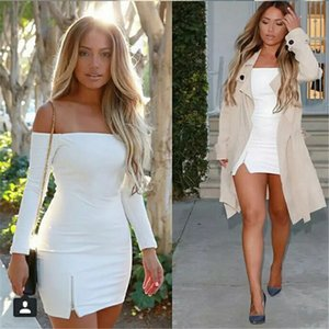 Women Bodycon Off-shoulder Sexy Long Sleeve Slit Evening Party Ladies Backless Club Mini Dress