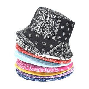 حوض قبعات على الوجهين الرجل في الهواء الطلق النساء المطبوعة الصياد قبعة واقية من الشمس uv تنفس مظلة القبعات الربيع الصيف واسعة بريم GWD6261