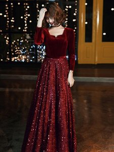 Full Sleeve Spring Women Formal Prom Dress Sexy V-Neck Bride Wedding Party Bling Sequins Gown Floor-Length Skirt Large Size Ethnic Clothing