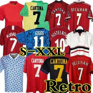 Retro United 98 99 Soccer Jersey Man Football Giggs Scholes Beckham Ronaldo Cantona Solskjaer Manchester 02 07 08 93 94 96 97 86 88 90 91