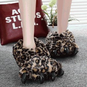 Unisex Chunky Bigfoot Shoes Women's Bear Slippers Couples Male Slipper Home Indoor Furry Slides Size 35-43