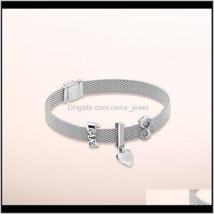 Bracelets 925 Sterling Sier Rose Logo Reflection Crown Clip Eternal Charm For Pandora Style Bracelet Set Rvlem Btzuj