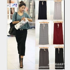 dress Cotton thread poet butto elastic one-step striped skirt for women