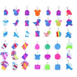 Christmas Simple Keychain Push Bubble Fidget Toys Poppers Decompression Toy Fidgets key chain Anti Stress Board halloween gift Interactive Games