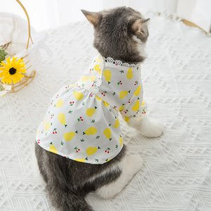 Cartoon Dog Clothes Floral Clothing for Dogs Dresses Fruit Lemon Print Small Super Pet Outfits Spring Summer Ropa Para P9MQT