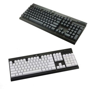 Black White PBT Double S Backlit 104 Top-lit Shine Through Translucent Keycaps For K70 K65 K95 RGB Mechanical Keyboards