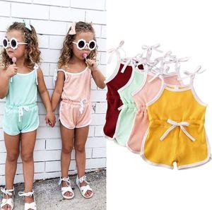 Summer children rompers girl suspenders short jumpsuit baby jumpsuits cotton romper 4 colors choose factory supply