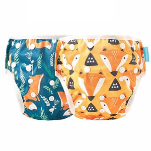 Happy Flute 2pc Baby Summer Reusable Adjustable Cloth Diapers Pool Pant Swimming Diaper Cover Washable Nappy 210426