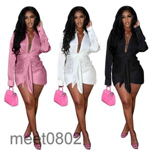 Sexy solid color V-neck Dresses for Women Lace Up Button Lapel Neck Party Casual Long Sleeve Fashion Shirt