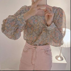 Romance Tops Womens Shirts Vintage Florals Loose Elegance Summer Streetwear Women Gentle Office Lady Blouse