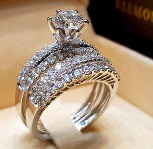 1 pcs anel de jóias de luxo mulheres acessórios de banda de casamento real 925 esterlina prata multi estilo branco diamante pedras preciosas para os amantes D052602