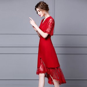 One Piece 2020 Summer Business Women Notched Collar Beading Button Sexy Tulle Lace Patchwork Short Sleeve Red Black Dress