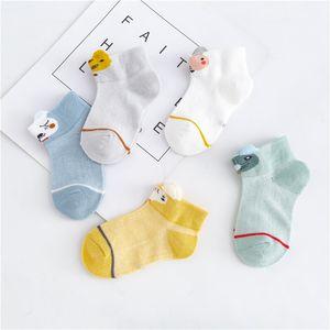 5 Çift / grup 0-2Y Bebek Çorap Yaz Pamuk 3D Karikatür Hayvan Çocuk Çorap Kız Mesh Sevimli Yenidoğan Erkek Yürüyor Çorap Bebek 895 Y2