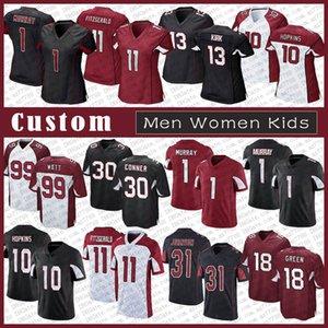 1 Kyler Murray 30 James Conner Custom Dos Homens Mulheres Kids Futebol Jersey 10 Deandre Hopkins 11 Larry Fitzgerald A.J. Verde J.J. Watt costurado arizona.CardealCardeais.