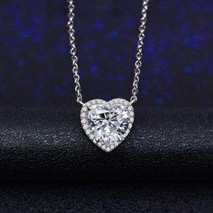 Luxo amor coração forma pingente colar com espumante moissanite cz mulheres festa de casamento jóias moda tendência colares