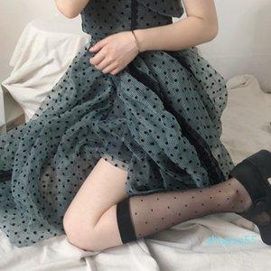 Summer Women Sexy Polka Dot Print Stockings Knee Nylon Elastic Fishnet Girls Lolita Cute Fashion Long Leg Socks Black