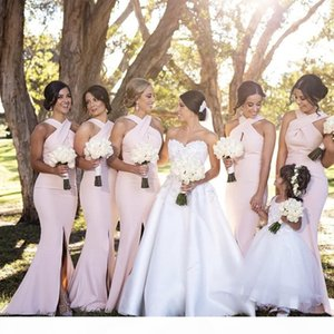 Pink Bridesmaid Dresses Country Elegant Mermaid Split Wedding Party Guest Dresses Junior Maid of Honor Dress Custom Made Cheap Long