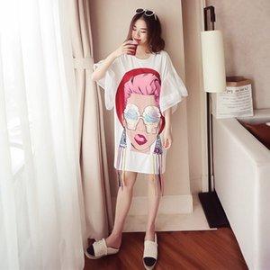 Summer Loose Oversize T Shirt Dress Women Butterfly Sleeve Chiffon Stitching Short Sleeve Dress Plus Size Black White Dres 210406