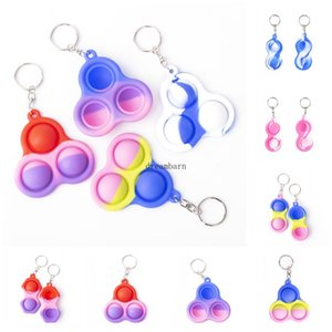 50PCS RYHX Hot Autism Special Needs Silicone Stress Reliever Keychain Toy Push Simple Dimple Bubble Sensory Fidget Toys For Kids FY7659