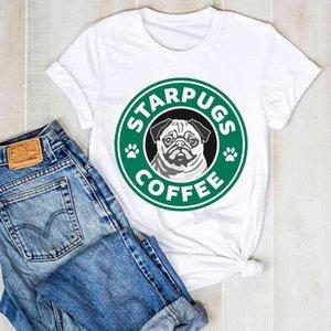 Size Women Lady Dog Pet Plus Pug Coffee Cartoon Women's Clothing Graphic T Tee T shirt Womens Women's Top Shirt T-shirt