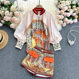 Retro Printed Suit Lantern Sleeve Loose Large Size Shirt Top Contrast Color High Waist Pocket Shorts Two-piece Set Women's Tracksuits