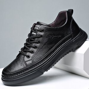 2021 New Korean Style Casual Sneakers Mens Fashionable All-Match Popular Mens Leather Shoes Comfortable Wear-Resistant Platform Mens Shoes