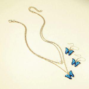 Nueva alta calidad de goteo azul aceite mariposa pendientes simulación mariposa gota pendientes metal mariposa piercing pendientes regalo 1176 q2