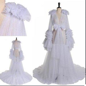 Sarar Ceketler Beyaz Squine Annelik Gelinlik Modelleri Kollu Abiye giyim Kimono Hamile Parti Pijama Kadın Bathrobe Sheer Nightgown