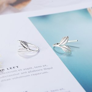 L-107 Simple and Exquisite Small Fresh Leaves Sprout Ear Hook Stud Earrings S925 Sterling Silver Needles Female Jewelry Wholesale