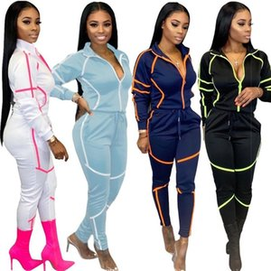Fashion Womens Tracksuits Contrast Color Woman Two Piece Sets Spring Autumn Casual Slim Tracksuits