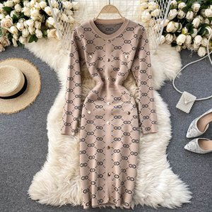 Knitted Sweater Dress Women's Autumn Winter New Fashion Retro Round Neck Jacquard Tight Package Hip Vestidos 210222
