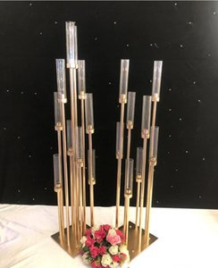 Flowers Vases 8 10 heads Candle Holders backdrops Road Lead props Table Centerpiece Gold Metal Stand Pillar Candlestick For Wedding