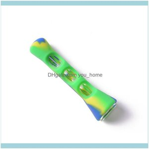 & Garden Household Sundries Portable Horn-Shape Sile Pipes Colorful Camouflage Glass Smoking Length 3Dot3 Inch Home Office Cigarette Aessori
