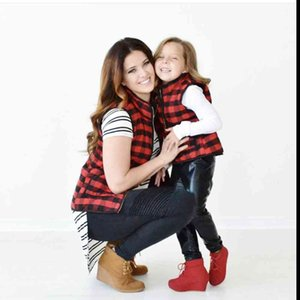 K4 Wholesale women quilted Mommy and me buffalo plaid vests with pockets